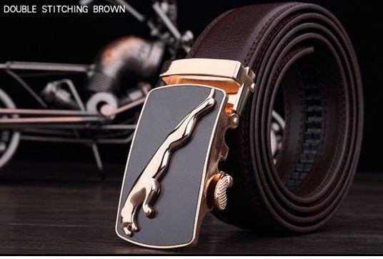 เข็มขัดหนังแท้ เข็มขัดผู้ชาย ใส่ทำงาน สายสีน้ำตาล หัวเข็มขัด สีทอง ลายเสื้อ จากัวร์ สินค้ามีตำหนิ ลด พิเศษ belt11