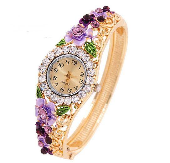 นาฬิกาข้อมือ ใส่ออกงาน สุดหรู แบบ กำไล ทอง นาฬิกาผู้หญิง ฝังเพชร ติดพลอย ติดดอกไม้ แกะลาย สุดหรู นาฬิกา คุณนาย ใส่ออกงาน เข้ากับ เดรส 603375