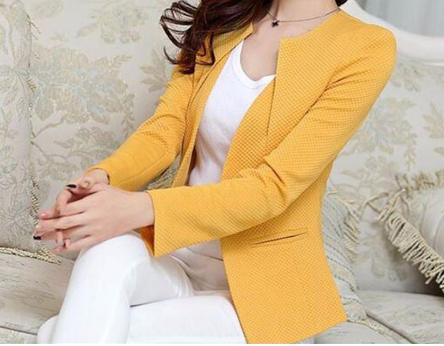 เสื้อสูท เสื้อแจ็คเก็ต เสื้อคลุม แบบสูท สูทผู้หญิง แขนยาว สีเหลือง เพิ่มสีสัน ให้ชุด สูทผู้หญิง กระดุมกลาง 1 เม็ด กระเป๋า 2 ข้าง 708280_4