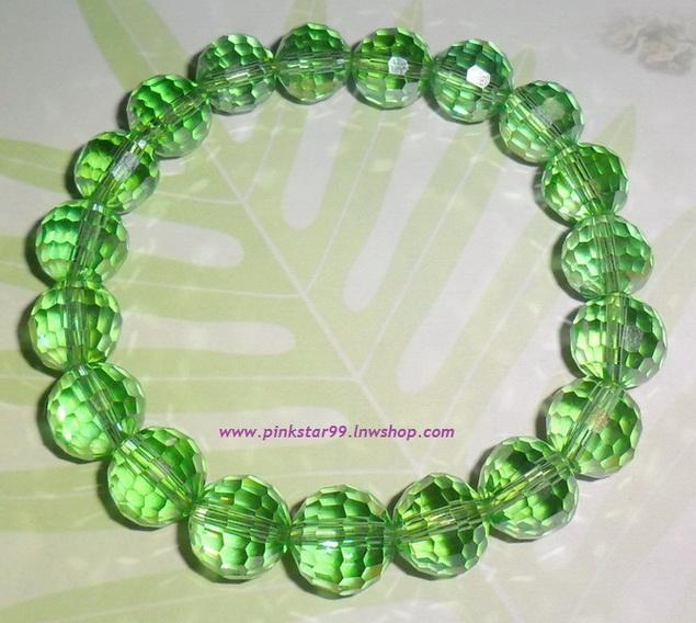(ขายแล้วค่ะ) K02 สร้อยข้อมือ คริสตัลโมดาร์ (สีเขียว)