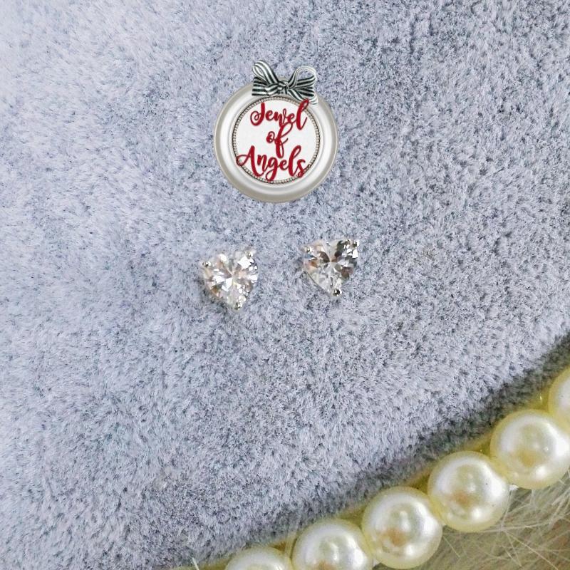 ต่างหูชุบทองขาวรูปหัวใจคริสตัลสัีเงิน