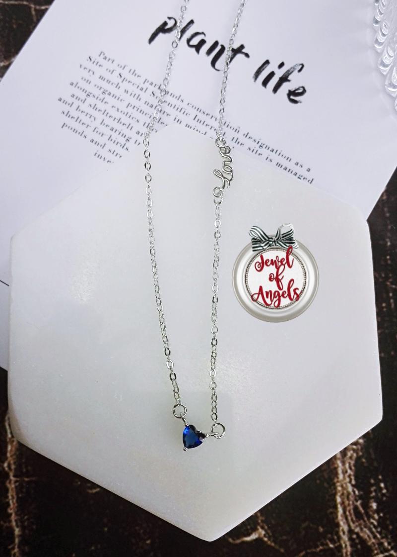 สร้อยคอเงินแท้S925LOVEจี้หัวใจเพชรCZสีน้ำเงิน(แถมกล่องค่ะ)