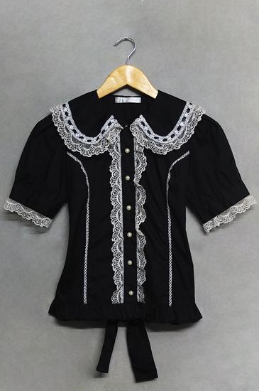 เสื้อสีดำคอปกแต่งลูกไม้ ACDC RAG