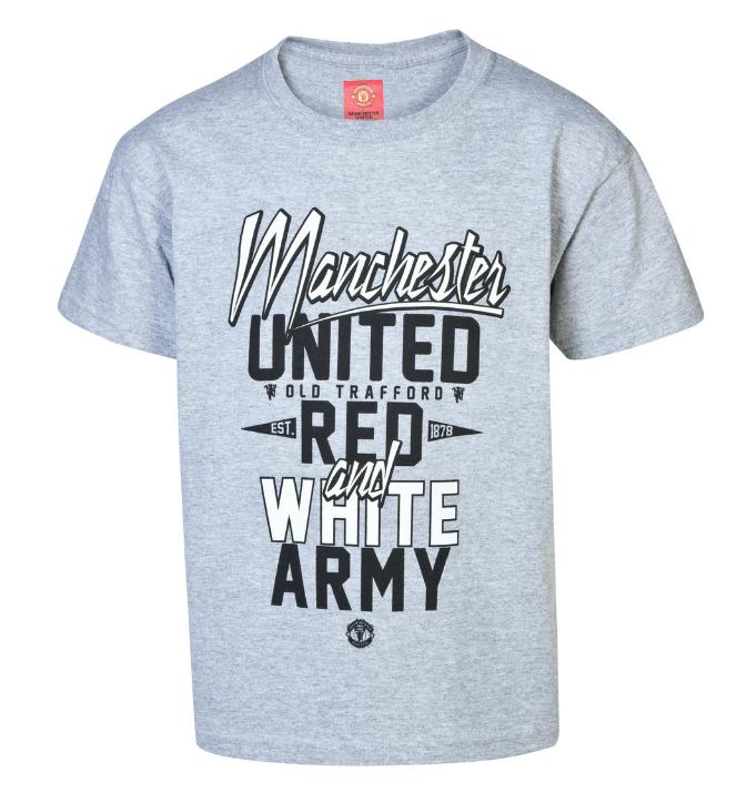 เสื้อแมนเชสเตอร์ ยูไนเต็ด Red and White Army T-Shirt - Boys Grey สำหรับเด็กชายของแท้ 100%