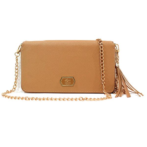 [ พร้อมส่ง ] - กระเป๋าสตางค์แฟชั่น ใช้เป็นกระเป๋าคลัทช์ได้ สีน้ำตาล ใบใหญ่สุดหรู สไตล์แบรนด์ดัง หนัง Saffiano แต่งโลโก้ LYN งานสวยโดดเด่น หนังคุณภาพตัดเย็บอย่างดี น่าใช้มากๆค่ะ มีสายโซ่สะพายยาว