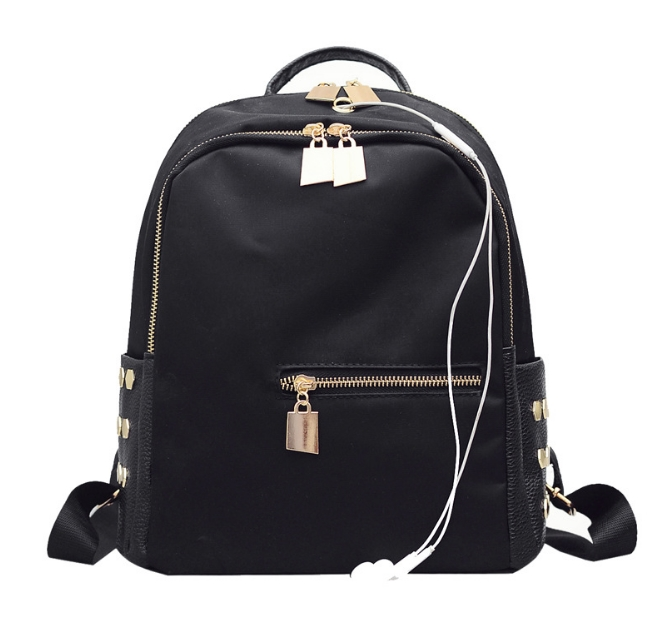 [ พร้อมส่ง HI-End ] - กระเป๋าเป้แฟชั่น สไตล์เกาหลี สีดำคลาสสิค ปักหมุดข้างสุดเก๋ ดีไซน์สวยเท่ๆ งานผ้าร่มไนลอนอย่างดี น้ำหนักเบา น่าใช้มากๆค่ะ