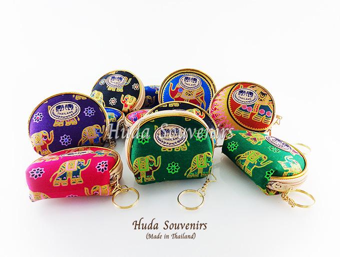 ของที่ระลึกไทย กระเป๋าใส่เศษสตางค์ ขอบทอง (ขนาด: ขอบทองใข่) ลวดลายช้างการ์ตูน หนึ่งโหลคละสี จำหน่ายยกโหล สินค้าพร้อมส่ง