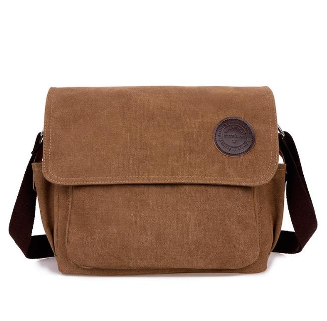 [ พร้อมส่ง ] - กระเป๋าแฟชั่น ผู้ชาย ผู้หญิงใช้ได้ สะพายข้าง สีน้ำตาล ใบกลางๆ ช่องใส่ของเยอะ Canvas+Nylon คุณภาพ ตัดเย็บอย่างดี