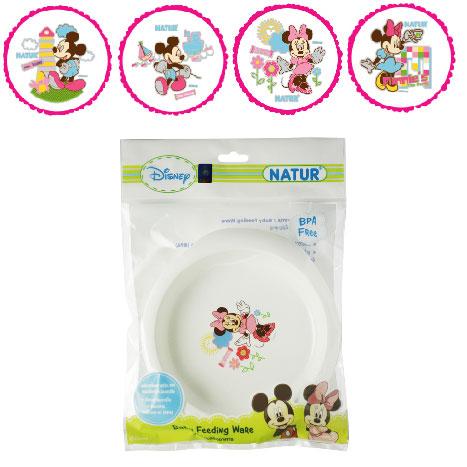 จานข้าวเด็กขนาดกลาง Natur ลายมิกกี้เม้าส์ มินนี่เม้าส์