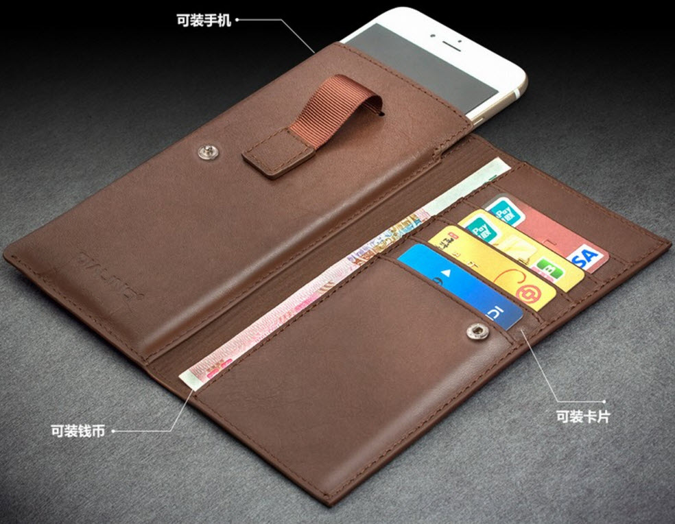 Qialino Wallet italy Style ซองหนังวัวแท้ 100% ออกแบบสำหรับใส่ iPhone 6 / 6s / 7