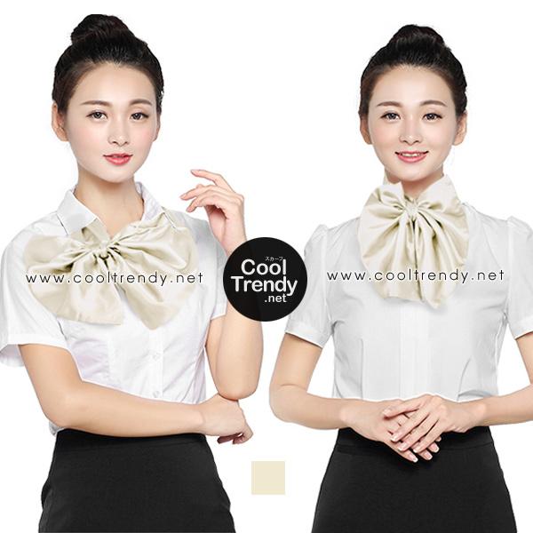 ผ้าพันคอสำเร็จรูป ผ้ายูนิฟอร์ม uniform solid cream : L901 สีพื้น สีทอง
