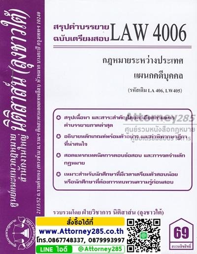 ชีทสรุป LAW 4006 กฎหมายระหว่างประเทศแผนกคดีบุคคลและคดีอาญา ม.รามคำแหง (นิติสาส์น ลุงชาวใต้)