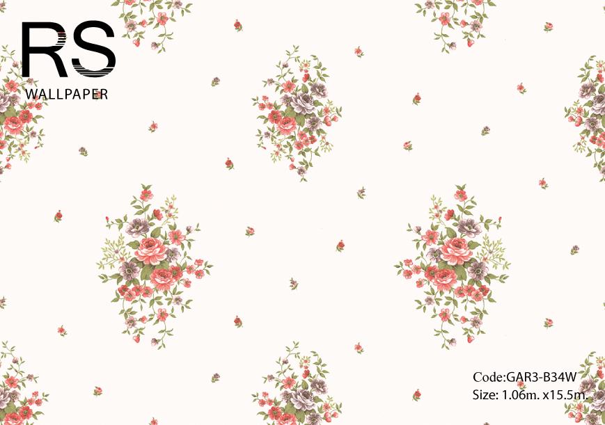 วอลเปเปอร์ลายพุ่มดอกไม้ดอกชมพูฟ้าใบเขียวพื้นสีขาวอมทอง GAR3-B34W