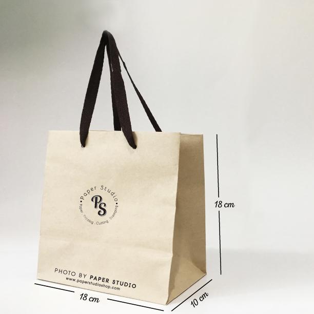 ถุุงชอปปิ้ง กระดาษน้ำตาล เบอร์ 4 ขนาด 18x10x18 ซม. (50 ใบ)