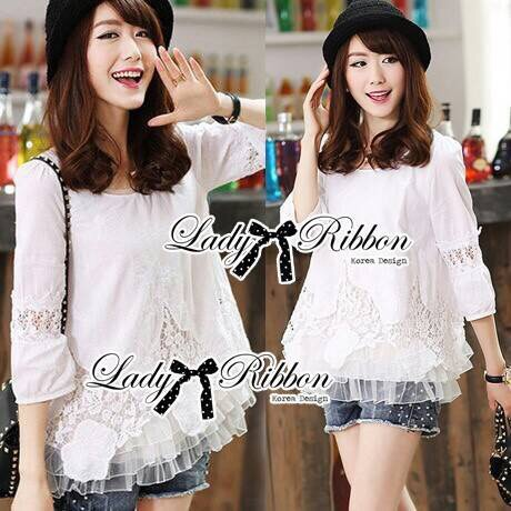 Lady Christy Vintage Embroidered Lace Cotton Blouse
