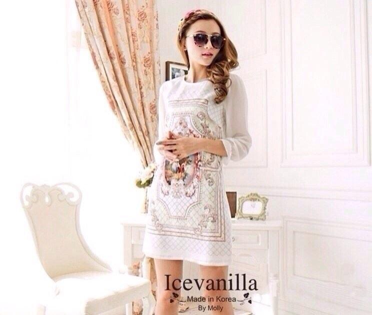 Retro court horn sleeve white printed mini Dress