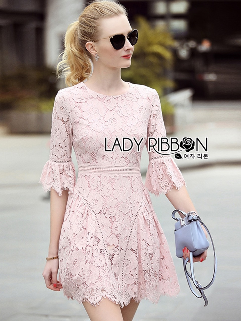 Lady Ribbon's Made Lady Lindsay Feminine Chic Baby Pink Lace Dress
