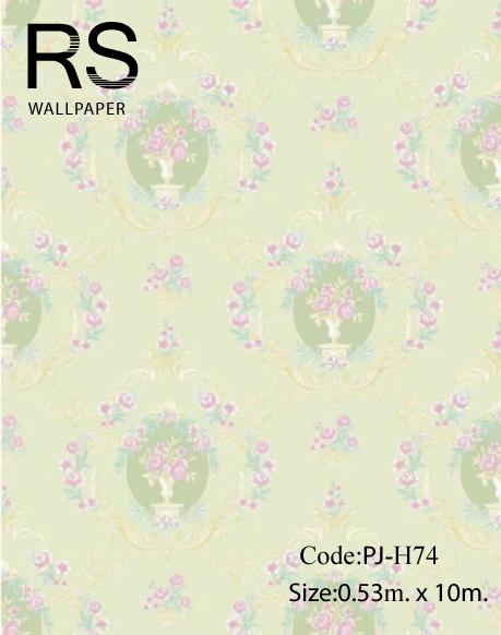 วอลเปเปอร์ ลายดอกไม้วินเทจ พื้นสีเขียวอ่อน No.PJ-H74