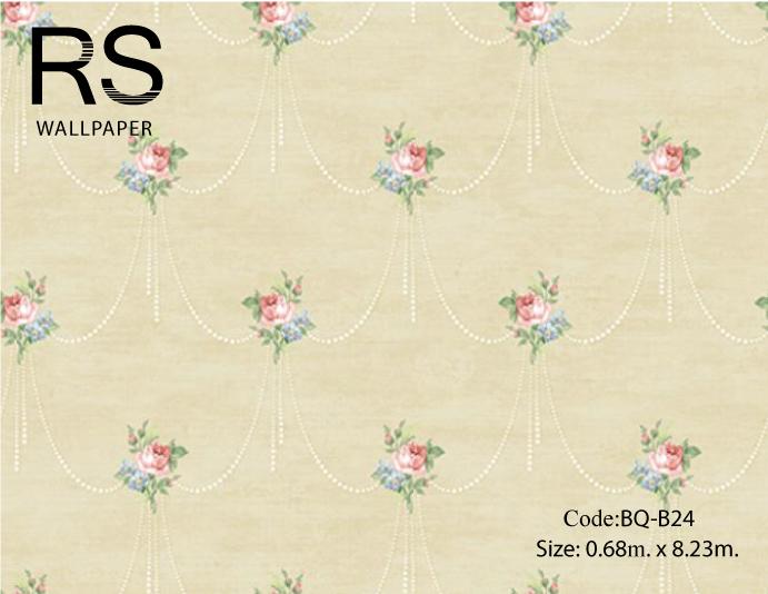 วอลเปเปอร์ลายดอกไม้สไตล์วินเทจเป็นพวงต่อกันดอกสีชมพูแดง ฟ้าใบสีเขียวเทาเข้มพื้นสีเทาเงา BQ-B24