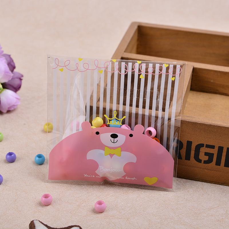 ถุงเบเกอรี่ ถุงขนมปัง แบบมีเทปกาว รูปหมี สีชมพู 100 ใบ/ห่อ (10*10+3 cm.)