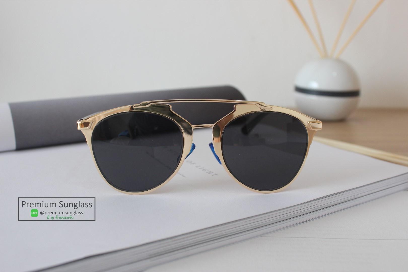 แว่นกันแดดแฟชั่น So Real กรอบทอง-เลนส์ดำ