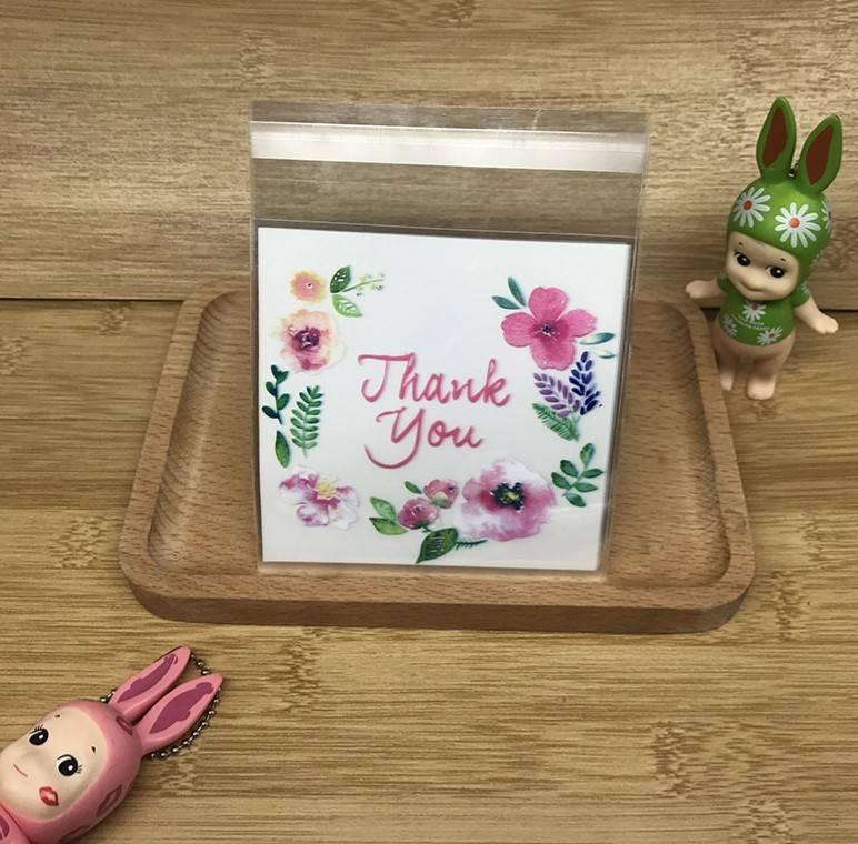 ถุงเบเกอรี่ ถุงขนมปัง แบบมีเทปกาว Thank You 100 ใบ/ห่อ (10*10+3 cm.)