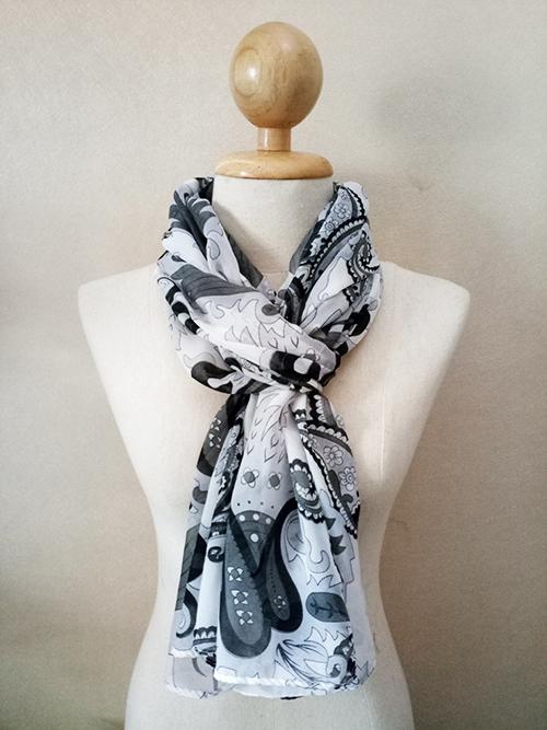 ผ้าพันคอ ชีฟอง สกรีนลาย Chiffon CF01-036