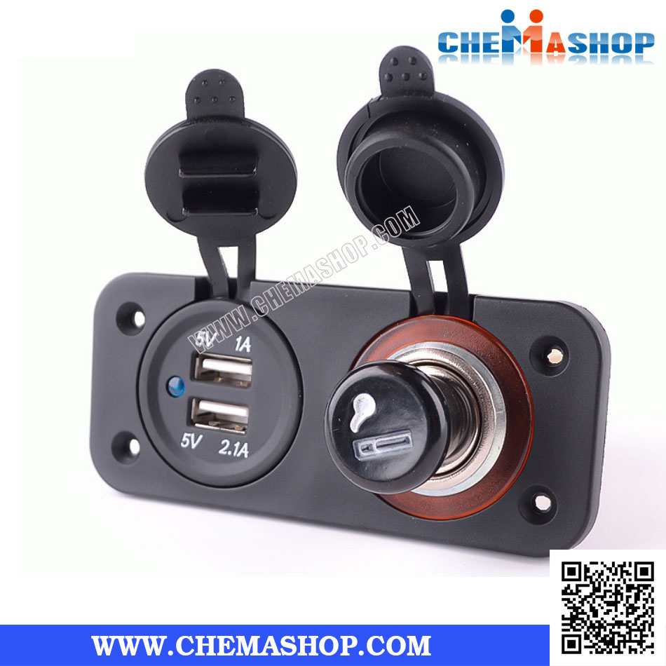 2 PANEL ช่องจุดบุหรี่ 12V/24V+ช่องชาร์จ USB 3.1A