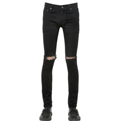 กางเกงSaint Laurent Black Ripped Denim Skinny Jeans