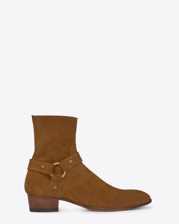 รองเท้าSaint Laurent Classic Wyatt Harness Boot In Ocher Suede
