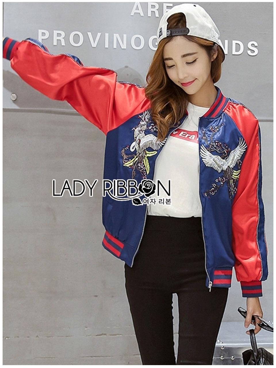 เสื้อผ้าเกาหลี พร้อมส่งบอมเบอร์แจ๊คเก็ตผ้าซาตินปักลายสีสดใส