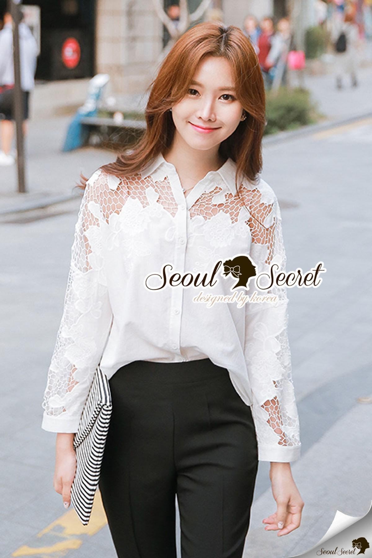 เสื้อผ้าเกาหลีพร้อมส่ง Korea Pleaty Shirt Denim Sleeve