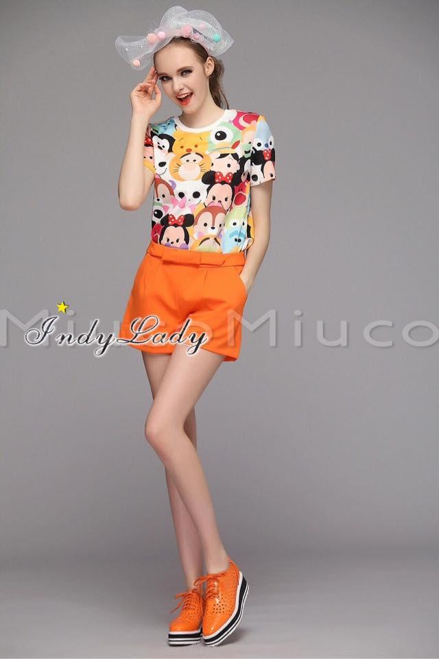 เสื้อผ้าเกาหลี พร้อมส่งน่ารักฝุดๆ กับชุดเข้าเซต เสื้อพิมลายตัวการ์ตูน