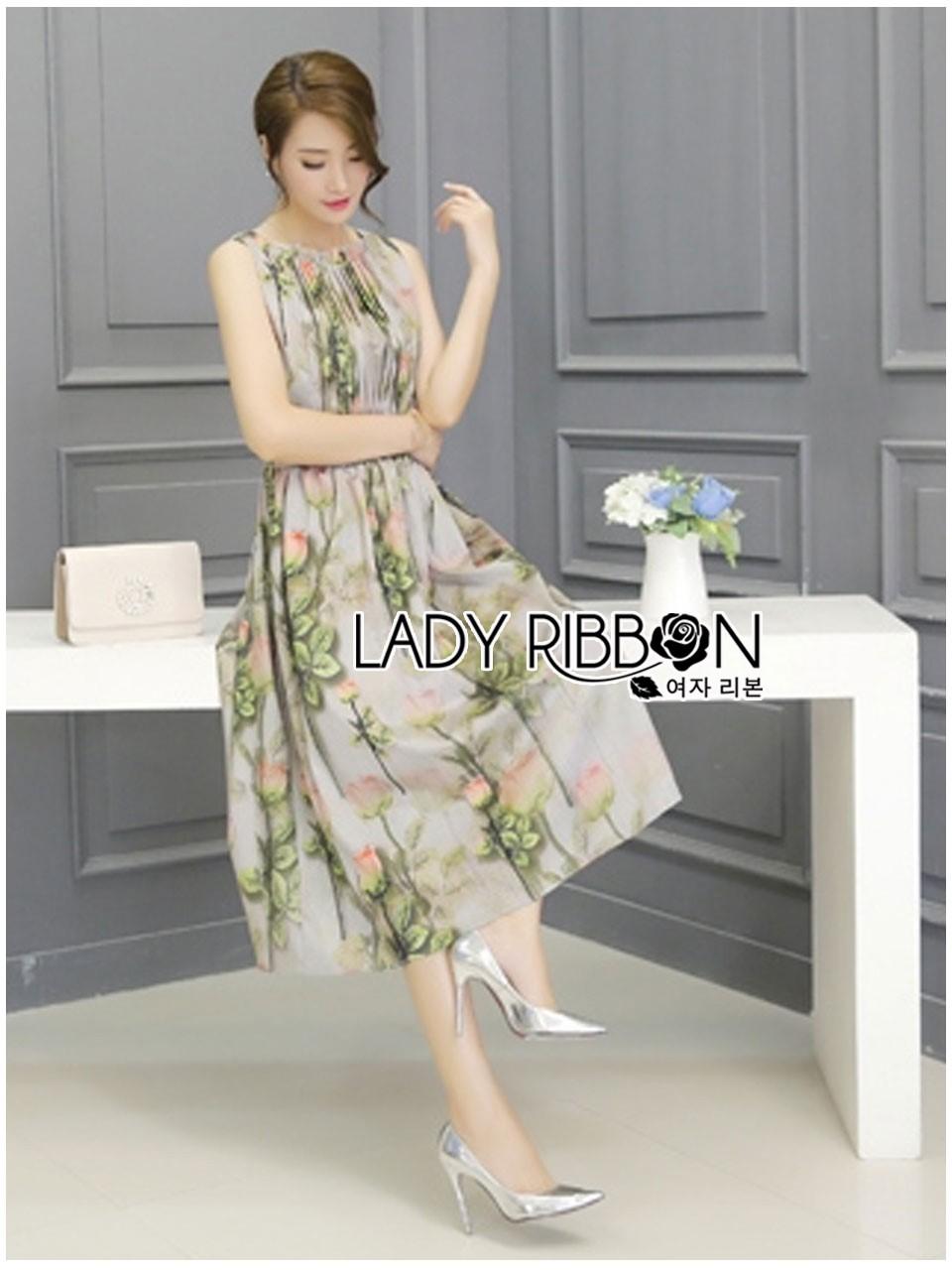 Miranda Natural Beauty Roses Printed Satin Midi Dress