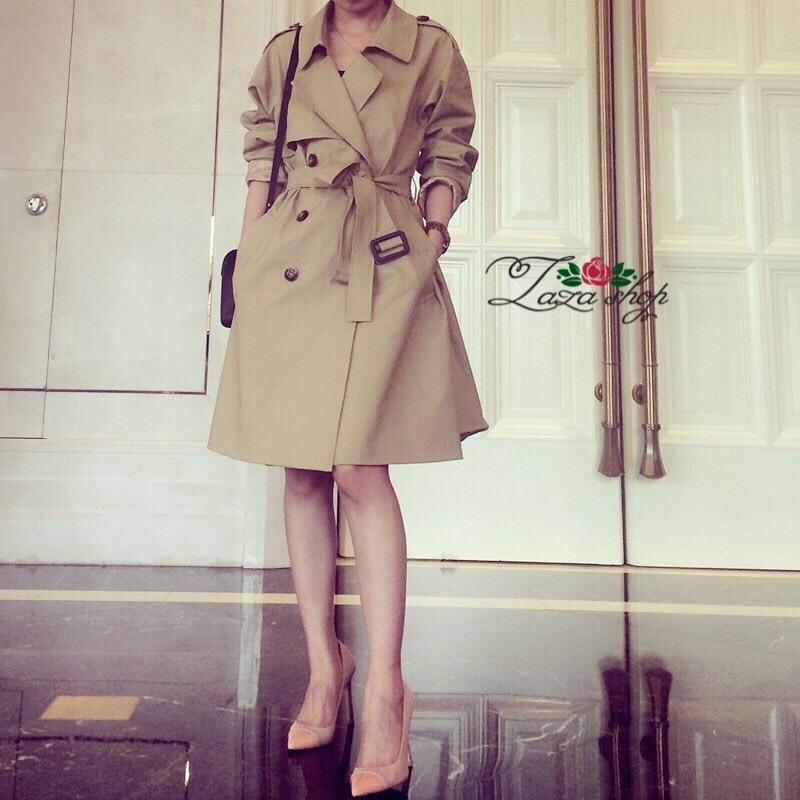 เสื้อผ้าเกาหลี พร้อมส่งเสื้อคลุมตัวยาว เนื้อผ้าสักหลาด กันลม กันหิมะ