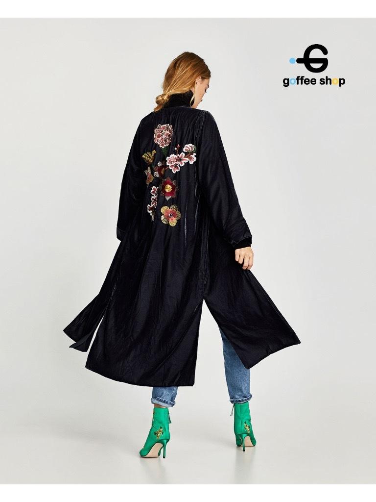 เสื้อผ้าเกาหลีพร้อมส่ง เสื้อคลุมตัวยาวผ้ากำมะหยี่เนื้อดี ซับในทั้งตัว