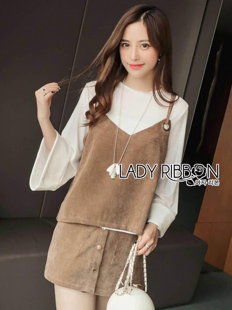 เสื้อผ้าเกาหลี พร้อมส่งเสื้อสายเดี่ยวกำมะหยี่ทับเสื้อแขนบานสีขาวและกระโปรงกำมะหยี่