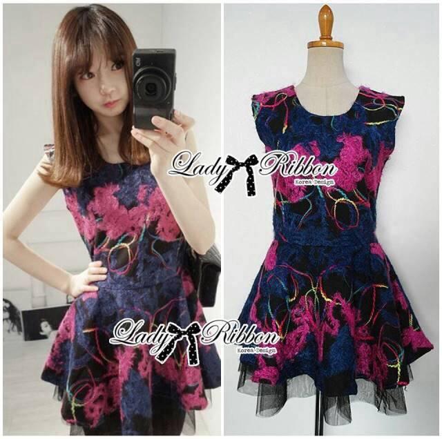 Colourful Embroidered Mini Dress