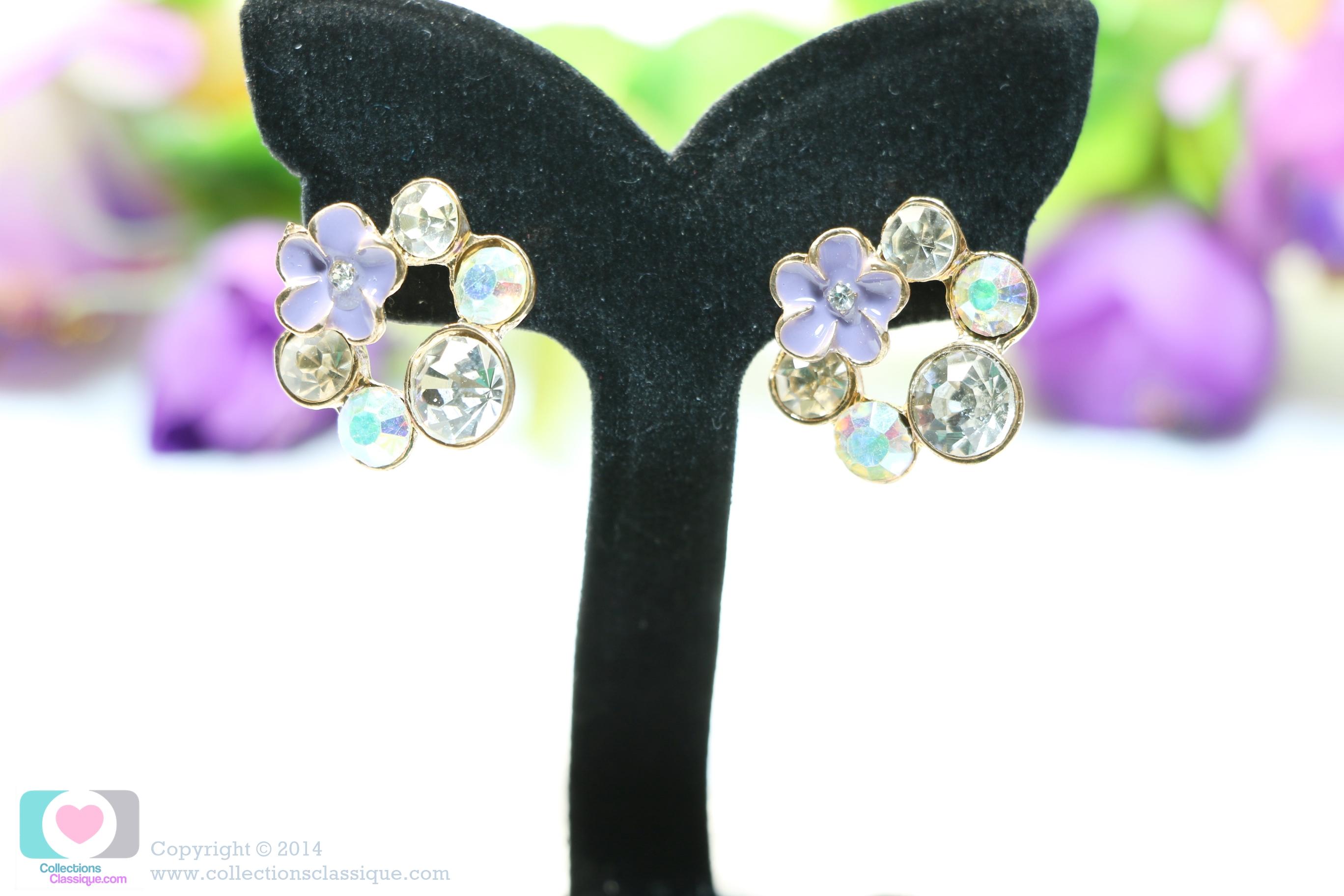 E99015 Fancy Diamonds Ring ต่างหูดอกไม้