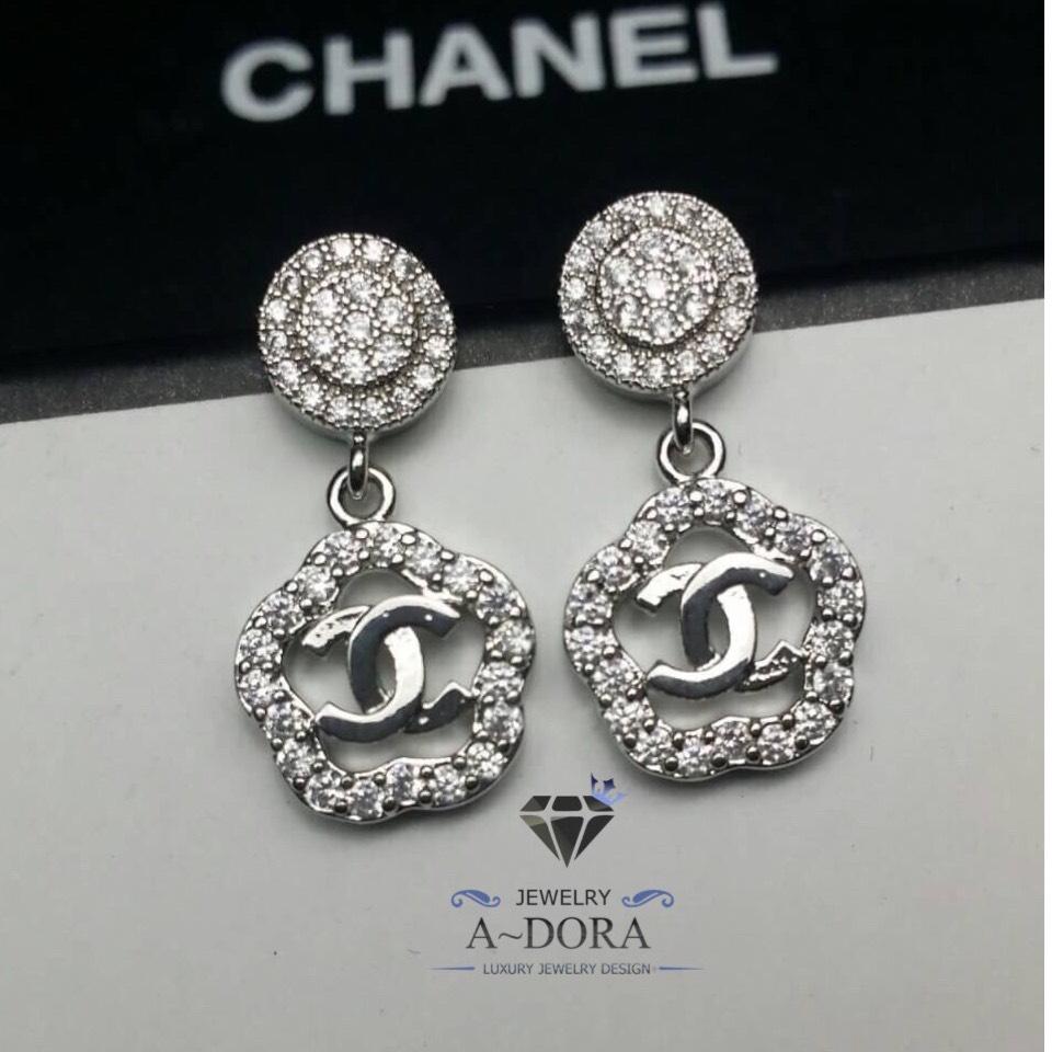 พร้อมส่ง Chanel Earring งานเกาหลี เพชร CZ