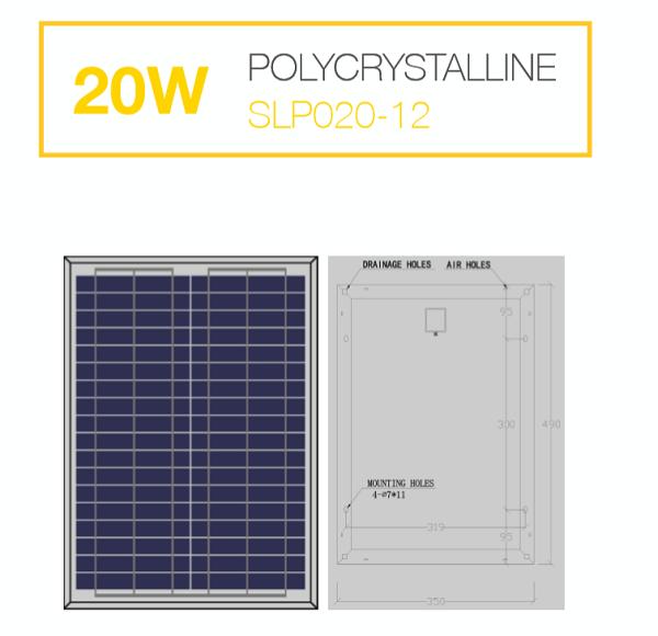 แผงโซล่าเซลล์ Solar Cell 20W Poly