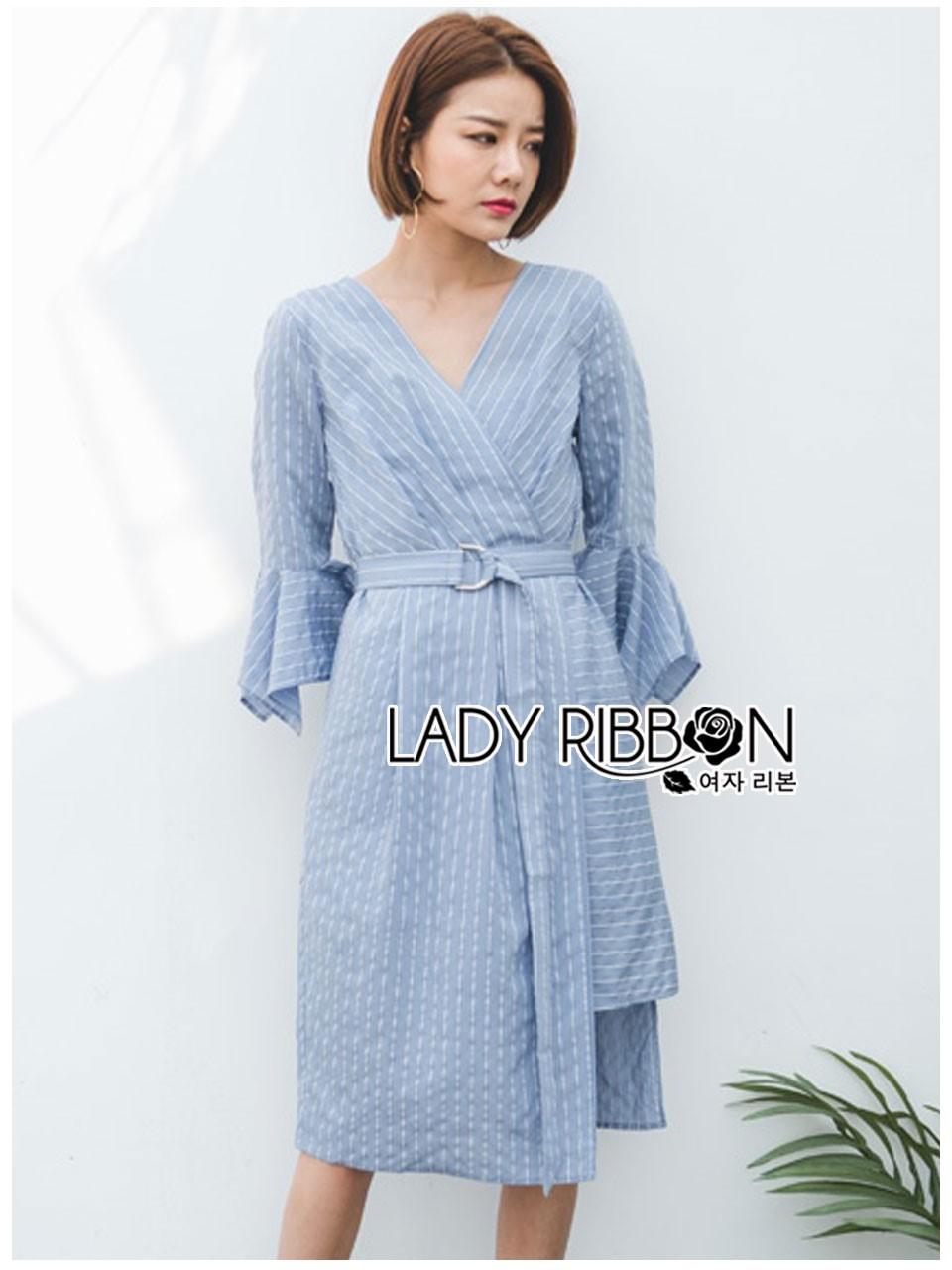 ชุดเดรสเกาหลีพร้อมส่ง เดรสผ้าคอตตอนสีฟ้าลายทางแขนระบาย