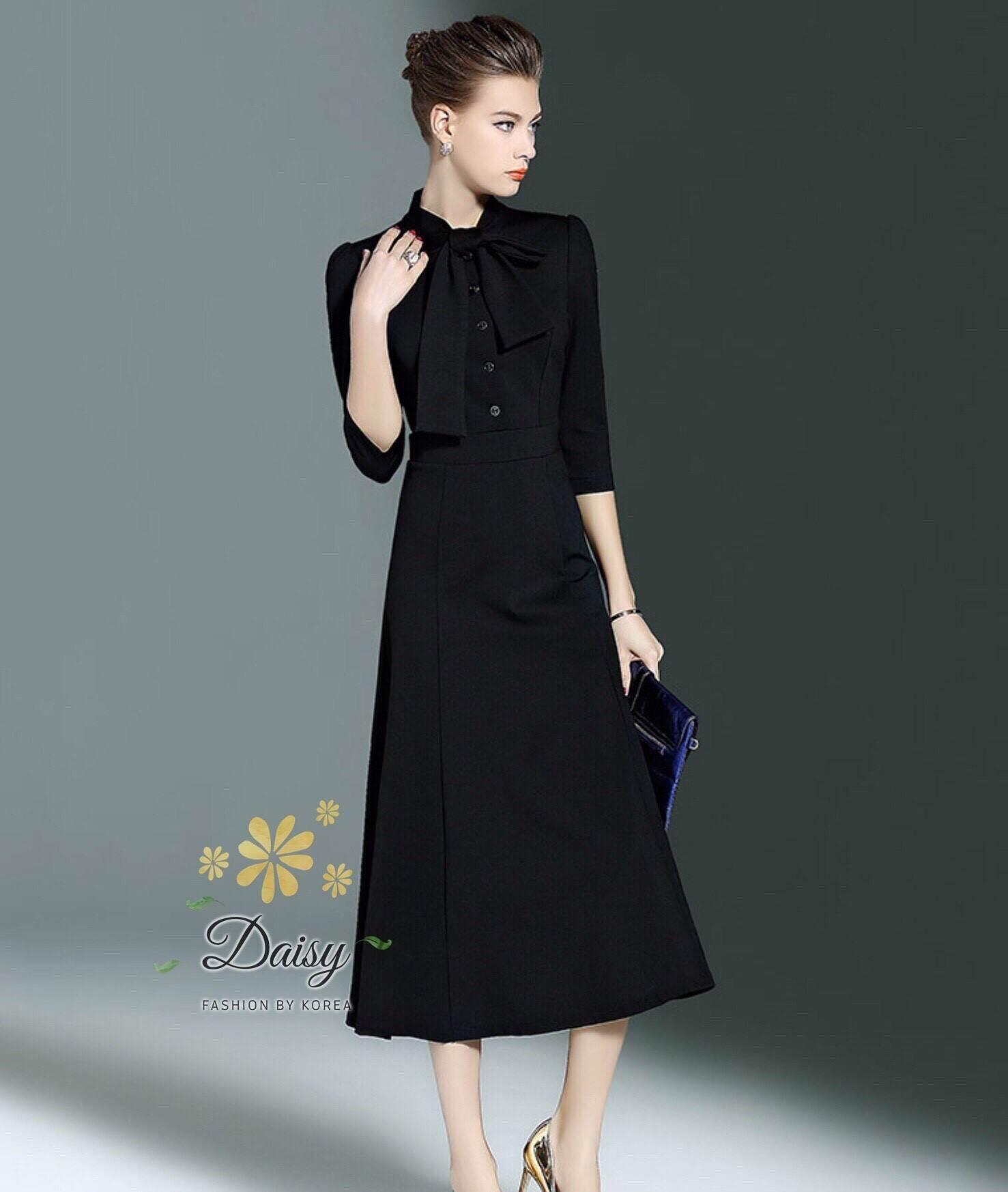 ชุดเดรสเกาหลี พร้อมส่งเดรสสีดำแบบสุภาพ ด้านหน้าติดกระดุม