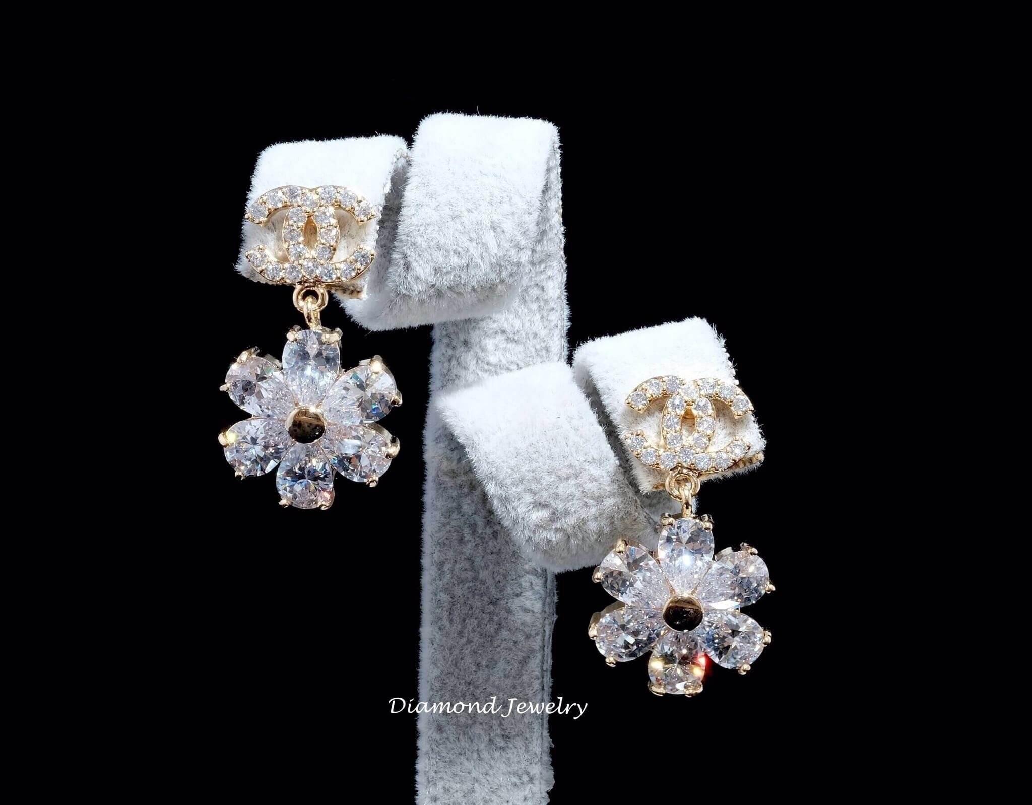 พร้อมส่ง Chanel Earring งานเพชร CZ แท้ งานเพชรคัดละเอียดดดมาก