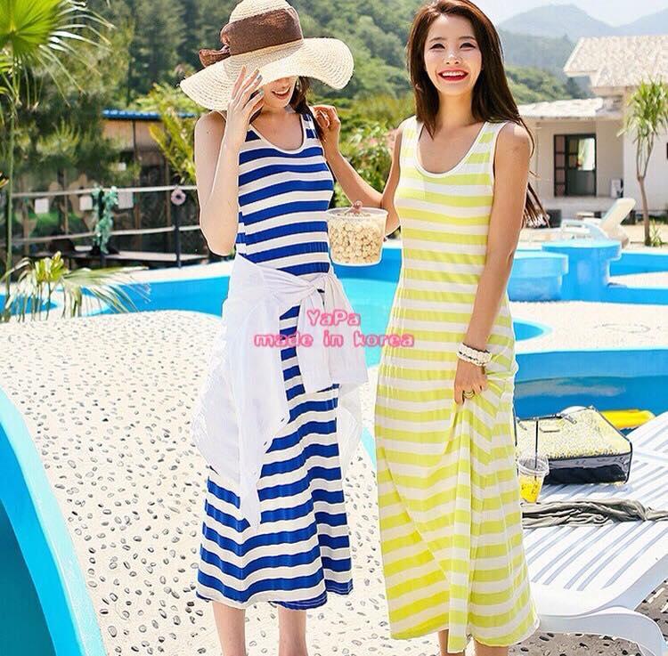 เสื้อผ้าเกาหลี พร้อมส่ง เดรสคอลเลคชั่น summer ลายขวางทรงสวย