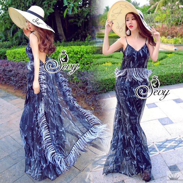 LBT Classy Feather V-Back Maxi Dress