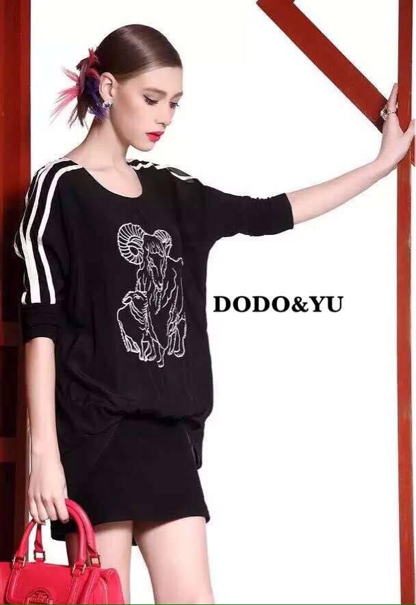 เสื้อผ้าเกาหลี พร้อมส่งชุดเดรสแขน 3 ส่วน ชุดด้านในใช้ผ้า polyester