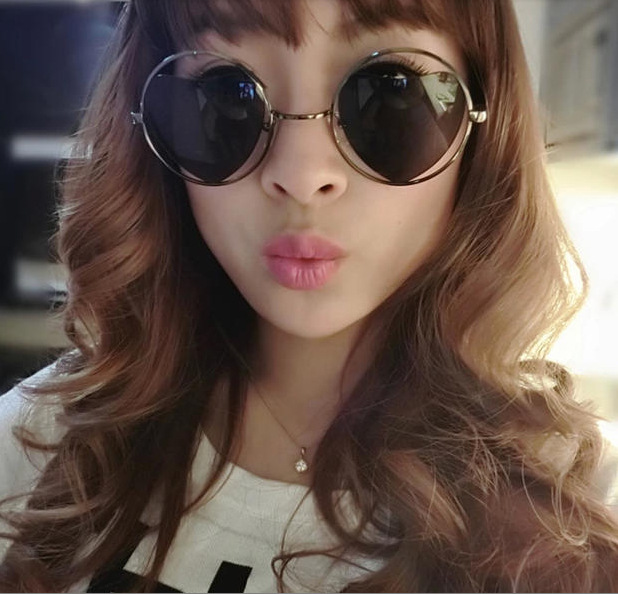 แว่นตากันแดดแฟชั่นเกาหลี กรอบวงกลมเลนส์ปรอทหัวใจสีดำ