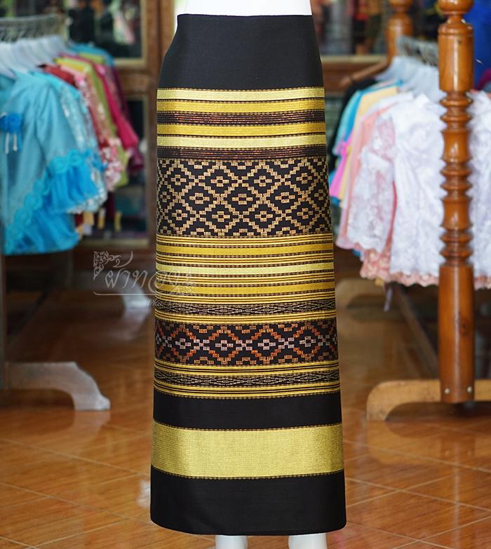 ผ้าซิ่นทอลายจก 1 สีเหลืองมะนาว