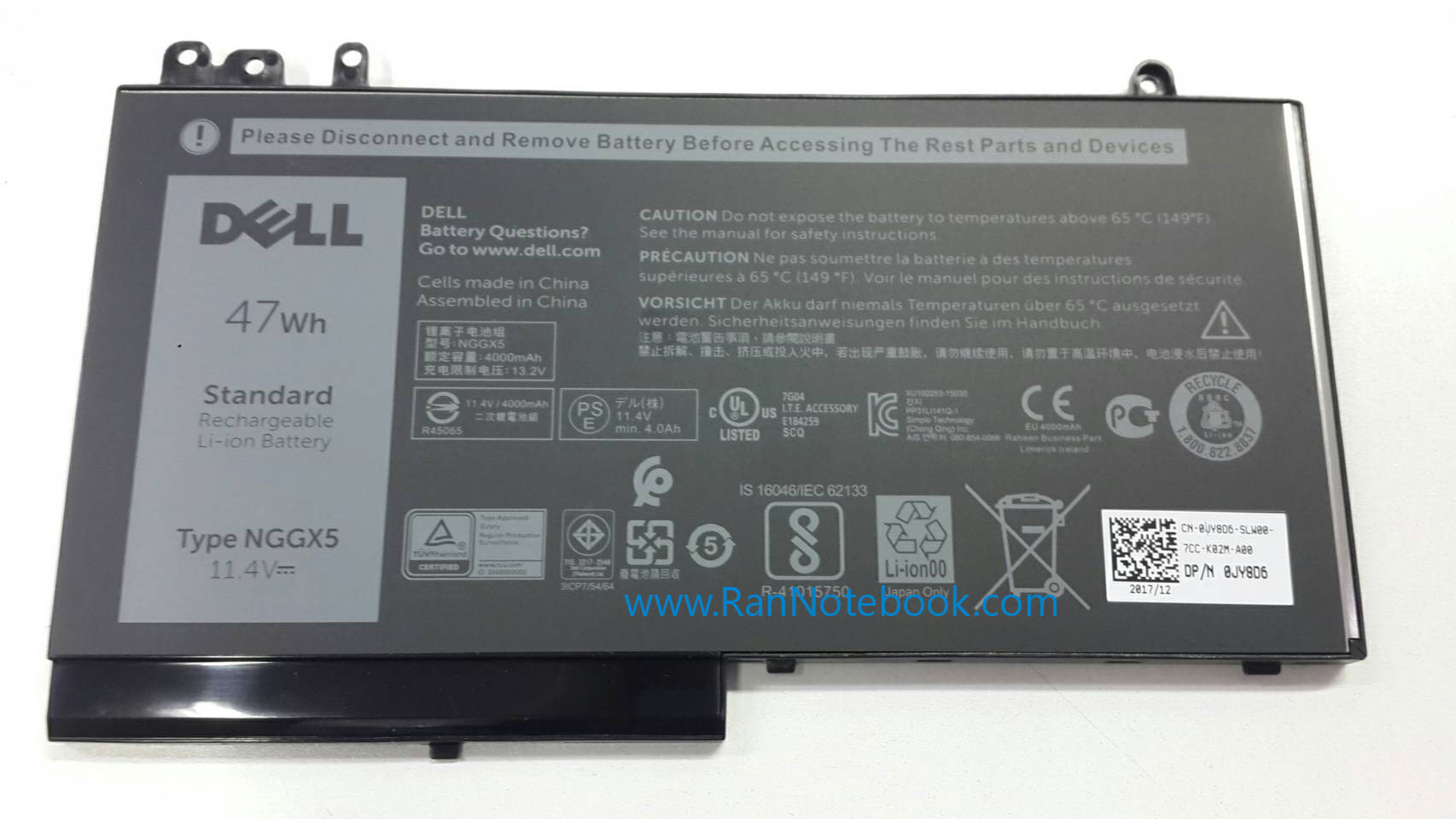 Battery Dell Latitude E5270 NGGX5 47Whr แบตแท้ ประกันศูนย์ Dell